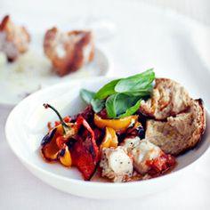 Ryba w peperonacie z grillowaną papryką i świeżymi pomidorami Risotto, Fish, Meat, Chicken, Tomatoes, Ethnic Recipes, Pisces, Cubs