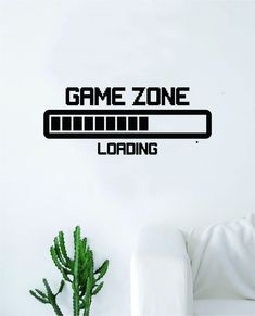Game Zone Loading Quote Wall Decal Sticker Bedroom Room Art Vinyl Home Decor Inspirational Teen Video Gaming Gamer - purple