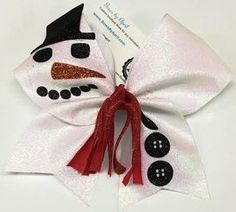 Frosty the Bowman White Glitter Snowman Cheer Bow