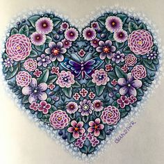Flower Heart from Ivy and the Inky Butterfly, Johanna Basford, colored by @gundiwr