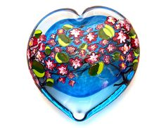 Cherry+Blossom+Heart+on+Aqua by Shawn+Messenger: Art+Glass+Paperweight available at www.artfulhome.com