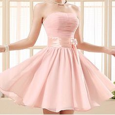 Baby pink dress with ribbon xx Pink Party Dresses, Cute Prom Dresses, Pretty Dresses, Homecoming Dresses, Sexy Dresses, Pink Dress, Casual Dresses, Beautiful Dresses, Short Dresses