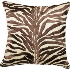 Add a pop of safari-chic flair to your sofa or reading chair with this handmade satin pillow, featuring an embroidered zebra-print design.