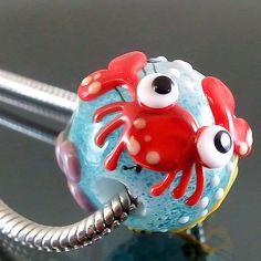 PIKALDA=handmade lampwork 1charm glass bead big hole flower=RED CRAB=SRA