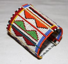 AFRICAN MAASAI MASAI BEADED TRADITIONAL ETHNIC TRIBAL WIRE BRACELET - KENYA #01 #Unbranded