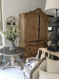 bleached oak linen press, chalky french furniture and zinc - The Paper Mulberry: Essentially French! French Country Decorating, Furniture, Coastal Cottage, Furniture Accessories, French Furniture, Soft Furnishings, French Decor, Home Decor, Grey Decor