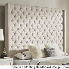 Harper Upholstered Tufted Tall Bed With Bronze Nailheads