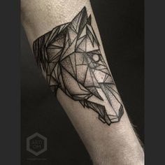 Terrific geometric horse tattoo by @arti_om