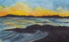 Coral Strand Sunset by Fiona Concannon on ArtClick.ie Irish Seascape Watercolour Art Galway Watercolour Art, Ireland, Irish, Coral, Sunset, Painting, Sunsets, Irish Language, Painting Art