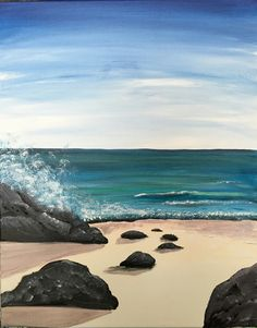 Learn to Paint The Ocean ROCKS! tonight at Paint Nite! Easy Paintings, Landscape Paintings, Watercolor Paintings, Ocean Rocks, Beach Rocks, Beach Scenes, Beach Art, Pictures To Paint, Acrylic Art