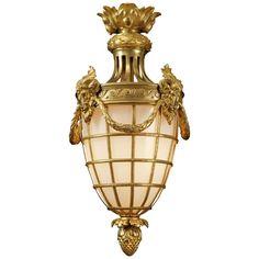 A fine Louis XVI style gilt bronze lantern. Bronze Chandelier, Antique Chandelier, Chandelier Lamp, Chandeliers, Antique Lanterns, Antique Lamps, Antique Lighting, Antique Interior, Lanterns For Sale
