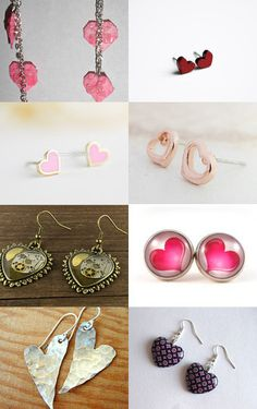 T-Time Heart Shaped Earrings Etsy Treasury by EyeLoveKnots; antique silver heart, button stud earring, filigree drop earring, glass heart earring, glitter heart stud, hammered heart, knitted heart earring, origami heart earring, pink and black earring, pink heart earring, rose gold heart earring, steampunk heart earring, sterling silver heart, tiny pink heart, upcycled heart earring, valentine earring, wood heart earring.