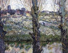 '`orchard` in flor con vista de arles', 1889 de Vincent Van Gogh (1853-1890, Netherlands)