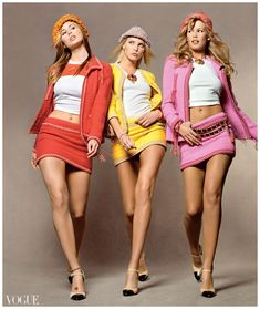 Niki Taylor Nadja Auermann Claudia Schiffer – Photographed by Steven Meisel, Vogue, 1994 |