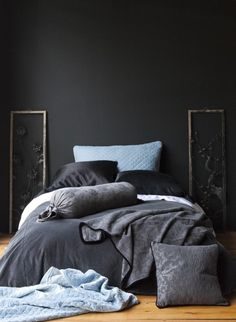Charcoal and silvery blue