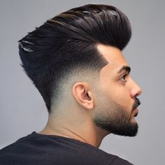 Best Pompadour Hairstyle for Men, What is the Pompadour exactly? A common faded pompadour is worn with the hair brushed up in reverse and also upwards while maintaining the sides shorter or faded. Mens Summer Hairstyles, Popular Mens Hairstyles, Cool Hairstyles For Men, Cool Haircuts, Hairstyles Haircuts, Haircuts For Men, Men's Haircuts Fade, Fashion Hairstyles, School Hairstyles