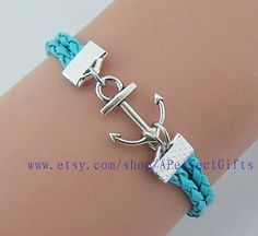 Silver anchor bracelet light blue leather jewelry Navy bracele sailor Men bracelet women jewelry Perfect gift for lover Choose your color by APerfectGifts, $2.59