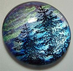 Faux Dichroic Glass Mimic Tutorial aurora borealis using rubber stamps, metallic lumiere acrylic paint