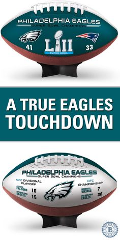 Champion the Philadelphia Eagles for years to come with this officially-licensed football, embossed with team colors, logos and the Super Bowl LII logo. Plus, it comes with free stand. Limited edition of only 10,000!
