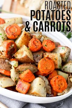 Oven-roasted potatoes and carrots are quick and easy side! Even better, they are… Oven-roasted potatoes and carrots are quick and easy side! Even better, they are made on one-pan and can be baked in the oven or grilled for the perfect tender vegetables! Vegetarian Recipes, Cooking Recipes, Healthy Recipes, Baked Veggie Recipes, Baby Carrot Recipes, Easy Vegetable Recipes, Roasted Potatoes And Carrots, Roasted Veggies In Oven, Grilled Vegetables Oven