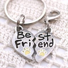 Split Hearts Best Friend Dog Charm & Key Chain