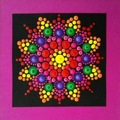 Colorful, bright colors Canvas Painting Tutorials, Dot Art Painting, Rock Painting Designs, Mandala Painting, Painting Patterns, Stone Painting, Mandala Painted Rocks, Mandala Rocks, Mandala Canvas