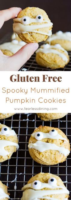 Deliciously spooky Gluten-Free Pumpkin Cookies for Halloween. Get ready for those Halloween parties with this easy pumpkin cookie recipe. recipe via www.fearlessdining.com #halloween #glutenfree #pumpkincookies via @fearlessdining