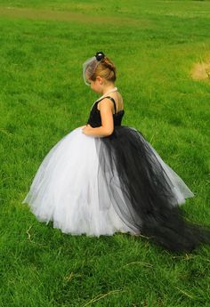 Black and White Tutu Flower Girl Dress with Detachable Train - NB to size 12(Girls)-  Colors Can Be Customized on Etsy, $80.00