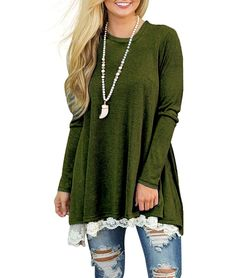 WEKILI Women s Tops Long Sleeve Lace Scoop Neck A-Line Tunic Blouse at Amazon  Women s 5f4390b4a