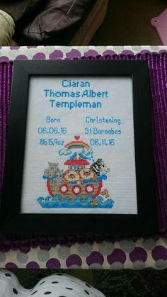 birth and christening cross stitch for ciaran