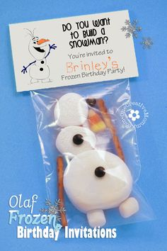 Olaf Frozen-Themed Birthday Party Invitations! {Free Printable from OneCreativeMommy.com}