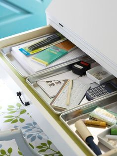 Ridiculously Easy (And Cheap) Ways to Finally Get Your Junk Drawer Under Control. Quarter-Sheet Baking Pans If your junk drawer is wide and shallow, here's the perfect solution (especially if you don't bake often): Use cookie trays or baking pans to divide the big drawer into smaller sections, as seen here on Better Homes and Gardens.