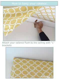 Great directions on how to hang a valance including the length to cut fabric