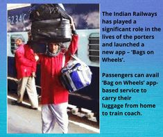"""The Northern Division of Indian Railways is soon to launch an app-based service called """"Bags on Wheels."""" The Porter, Train Travel, Division, Good News, Wheels, Product Launch, Indian, App, Apps"""