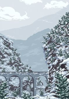 Glacier Express going through the Swiss Alps Pixel art Pixel Art Background, Moving Wallpapers, Foto Gif, Pix Art, Pixel Animation, Retro Art, Beautiful Landscapes, Aesthetic Wallpapers, Scenery