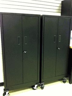Delicieux Two Black Metal Garage Storage Lockers Metal Cabinets, Garage Cabinets,  Desk Nook, Metal