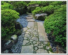 love this rocking and moss pattern walkway