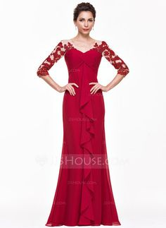 Empire V-neck Floor-Length Chiffon Evening Dress With Appliques Lace Cascading Ruffles (017065560) - JJsHouse