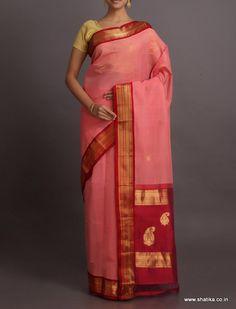 Darshna #PastelPink And #Red Engaging Paisleys #GadwalCotton #Saree