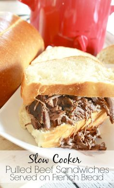These pulled beef crock pot sandwiches are so moist, flavorful and can be served on any kind of bread for a crowd, or for just one person. If you're craving a french dip, but craving the comfort of a crock pot recipe, this is the pulled beef crock p