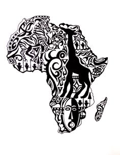 Nice variation of tribal-styled African continent tattoo