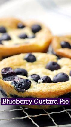 Fun Baking Recipes, Sweet Recipes, Dessert Recipes, Cooking Recipes, Blueberry Custard Pie, Blueberry Recipes, Custard Pies, Delicious Desserts, Yummy Food