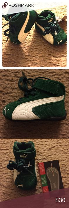 Baby puma shoes Brand new puma shoes. Dark green and white Puma Shoes Baby & Walker