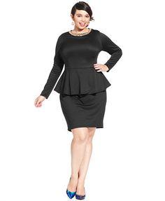 turmec » plus size see through long sleeve peplum black dress