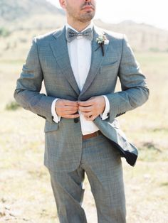 A #groom in grey is a cool alternative to traditional black. #wedding #style