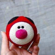wool ball ladybug- gave this at a ladybug-themed birthday party!