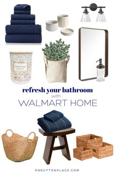 Use these ideas to complete a simple & stylish refresh for your small bathroom, without breaking the bank! Includes quick ways to update, and make your space look new again.