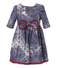 Look what I found on #zulily! Blue & Red Tie-Dye Polka Dot Dress - Toddler & Girls by Richie House #zulilyfinds