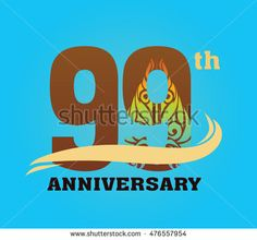 Anniversary logo with javanese shadow puppet pattern 90th