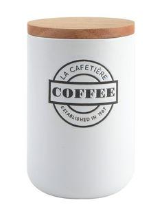 Tyylikkäässä kahvipurkissa on kohokuviointi. Korkeus on 17 cm ja halkaisija 10 cm. <br/><br/> Materiaali on kivitavaraa. Puukannessa on tiivis muovireunus. Kä...